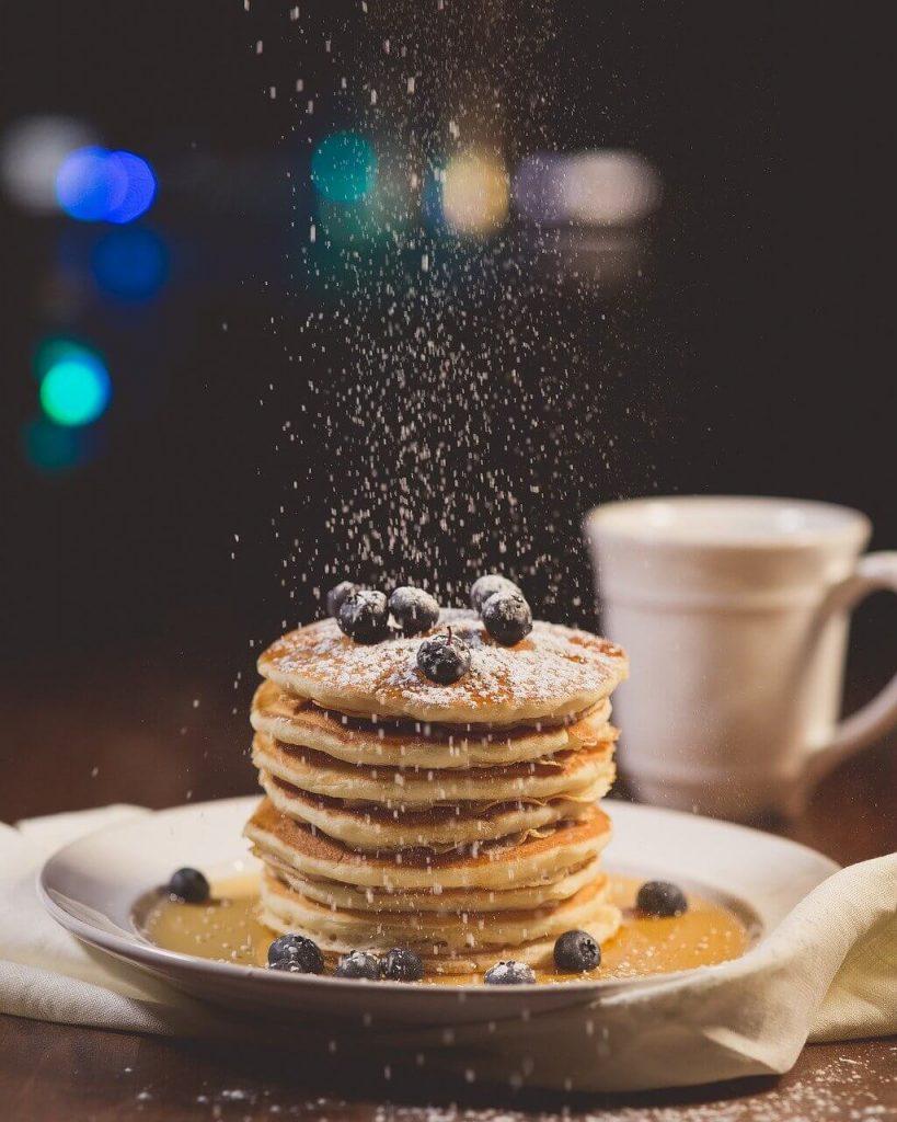 garnish pancakes with blueberries