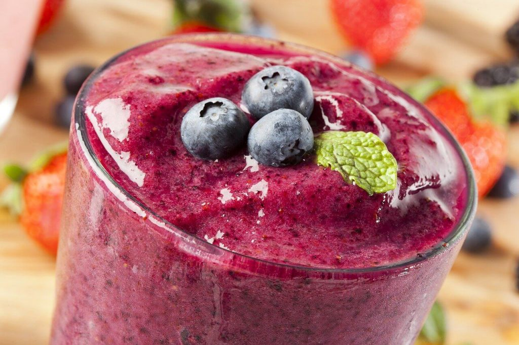 blueberries in smoothie