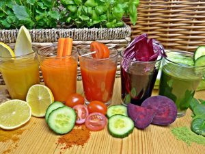 colorful vegetable juices